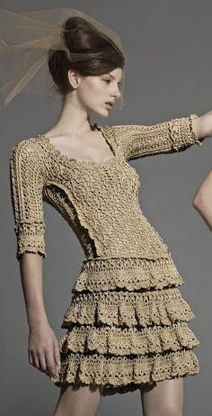 Vanessa Montoro Sofia Beige Dress free crochet graph pattern