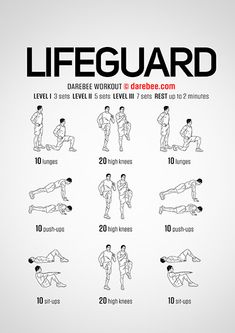 Lifeguard is a workout that will make you feel the burn from the very first set. Dry Land Swim Workouts, Workouts For Swimmers, Volleyball Workouts, Gym Workouts, At Home Workouts, Workout Tips, Workout Routines, Workout Plans, Swimmers Workout Dryland