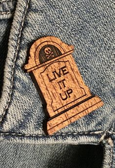"Tombstone ""Live it Up"" Pin – Zombolina's Cabinet of Curiosities Memento Mori, Symbols, Cabinet, Live, Products, Clothes Stand, Icons, Closet, Momento Mori"