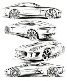 car sketch Matthew Beavens Jaguar concept/production pencil sketches - F-Type Coupe, Concept, and Concept Car Design Sketch, Car Sketch, Design Autos, Graphisches Design, Art Diy, Industrial Design Sketch, Jaguar F Type, Car Drawings, Transportation Design