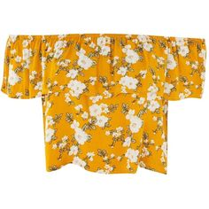 Floral Print Bardot Crop Top by Glamorous Petite (£18) ❤ liked on Polyvore featuring tops, crop top, shirts, mustard, mustard top, orange crop top, orange top, summer shirts and floral print shirt