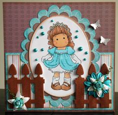 Lucy loves scrapping: Magnolia cute girly image brown blue handmade card