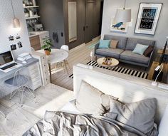 Marvelous Image of Small Studio Apartment Layout . Small Studio Apartment Layout Simple Small Studio Apartment In Open Plan Layout Interiors Studio Apartment Layout, Small Studio Apartments, Studio Layout, Studio Apartment Decorating, Cool Apartments, Studio Design, Small Apartment Layout, House Design, Apartment Decoration