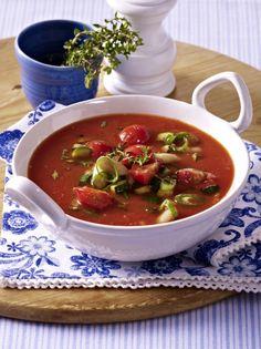 Unser beliebtes Rezept für Mediterrane Tomatensuppe und mehr als 55.000 weitere kostenlose Rezepte auf LECKER.de.
