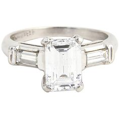 Pre-Owned Emerald-Cut Diamond Engagement Ring (305 975 UAH) ❤ liked on Polyvore featuring jewelry, rings, white ring, baguette engagement ring, emerald cut solitaire ring, pre owned diamond rings and preowned engagement rings