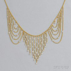 Antique 14kt Gold and Pearl Necklace   Sale Number 2693B, Lot Number 222   Skinner Auctioneers