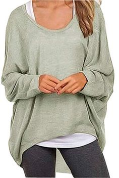 iLH Fashion Women V-Neck Lantern Sleeve Sweatshirt Solid Color Sweater Casual Drop Pullover Tops