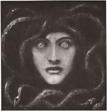 Medusa by Franz Von Stuck. Franz Stuck - was a German painter, sculptor, engraver, and architect. His subject matter was primarily from mythology and his seductive female nudes are a prime example of popular Symbolist content. Medusa Painting, Medusa Gorgon, Medusa Art, In Loco, Photocollage, Greek Mythology, Archetypes, Dark Art, Modern Art