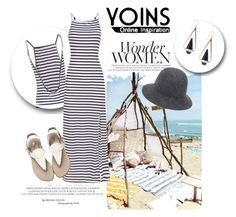 """Yoins Stripe Pattern Backless Cami Maxi Dress with Split Hem"" by teez-biz-nez ❤ liked on Polyvore featuring vintage and yoins"