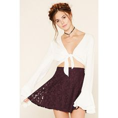 Forever21 Floral Lace Skater Skirt (800 INR) ❤ liked on Polyvore featuring skirts, mini skirts, eggplant, forever 21 skirts, forever 21, mini circle skirt, circle skirt and lace skirt
