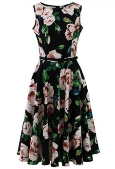 Glamorous Blooming Rose Belted Midi Dress