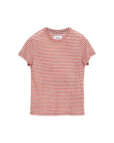 GUY - Crew neck T-shirt - Red stripe Striped Linen, Striped Tee, Neck T Shirt, Personal Style, Crew Neck, Guys, Model, Red, How To Wear
