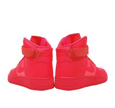 Nike air force 1, high top. all RED!