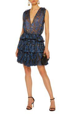 Paule Ka Lurex Floral Tiered Lace Mini Dress $2,145