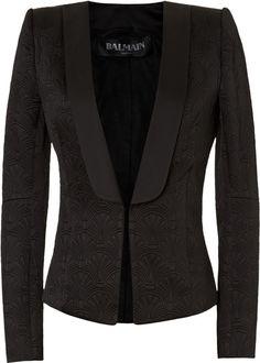 BALMAIN Black Jacquard Blazer - Lyst