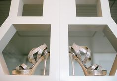 Gold Bridal Shoes // Heather Kincaid Photography // http://blog.theknot.com/2013/09/12/a-cheerful-vintage-wedding-video-for-a-playful-malibu-wedding/