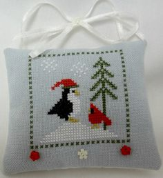 Whimsical Penguin And Cardinal Cross Stitched / by luvinstitchin4u, $14.50