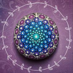 Sacred Geometry Mandala Stone by Elspeth McLean #paintedstone #rockart #elspethmclean #mandala #cosmic #sacredgeometry #seaurchin