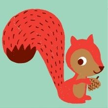 """squirrel from """"Seasonal Animals"""" print, by Amy Blay"""