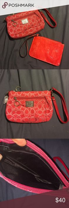 Red Coach Clutch Super fun red and silver coach clutch in excellent condition! Will throw in additional small wristlet (not coach brand) if bought at asking price!👌🏻 Coach Bags Clutches & Wristlets