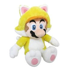 Neko or Cat Mario is a form of Mario introduced in Super Mario 3D World. In this form, Mario has identical abilities to Cat Mario and he can also turn into the invincible Golden Statue Mario - akin to Tanooki Mario's Statue Mario form, except he earns Coins and defeats enemies on contact. Mario looks exactly like Cat Mario in this form, except he wears a red bell collar. Features: - From Super Mario 3D World comes this Cat Mario 12-inch tall plush. It's not a flying cat, it's just Mario…