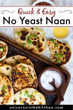Looking for a quick naan recipe that uses no yeast? I've got you covered! This naan recipe is so easy and is ready in 30 minutes. It's soft, chewy and you only need a few ingredients and a few minutes to put it together. Nothing beats homemade bread! Naan Bread Recipe No Yeast, Homemade Naan Bread, Recipes With Naan Bread, Banana Bread Recipes, Recipe 30, Food To Make, Yogurt, Cooking Recipes, Garlic Naan