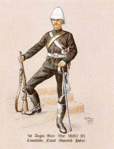 Natal Mounted Police.  Founded in 1874 when the Langalibalele Rebellion demonstrated a need for a trained force in the Natal, the NP had a fighting record second to no similar body in the Victorian age.  34 officers were present at the Battle of Isandlwana, with several dying in a last stand with Col. Durnsford. The NP covered the retreat at Laing's Nek in 1881 and were in the garrison during the siege of Kimberly in the Second Boer War.