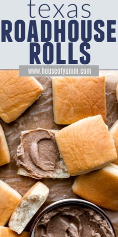 Texas Roadhouse Rolls with Cinnamon Honey Butter. These fluffy rolls are lightly sweetened and perfect for slathering with whipped Cinnamon Honey Butter! Be prepared for these rolls to disappear quickly! Copycat Recipes, New Recipes, Bread Recipes, Texas Roadhouse Rolls, Cinnamon Honey Butter, Pull Apart Bread, Bread Rolls, Dinner Rolls, Tex Mex