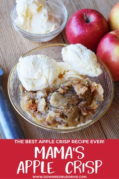 My Mama's Apple Crisp Recipe is the best apple crisp I've ever had and I love how simple it is to make!  Mama's Apple Crisp | Apple Crisp | Easy Apple Recipe | Apple Dessert | Apple Crisp Recipe | Best Apple Crisp Recipe | Best Apple Recipe | Easy Apple Crisp Recipe | Easy Apple Dessert Recipe | Down Redbud Drive #applecrisp #applerecipe #appledessert Best Apple Crisp Recipe, Best Apple Recipes, Apple Pie Recipe Easy, Apple Crisp Easy, Apple Crisp Recipes, Sweet Recipes, Quick Apple Dessert, Apple Dessert Recipes, Dog Treat Recipes