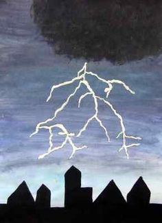 1st--Thunderstorm Painting: wet on wet watercolor, sponge painting, crayon resist