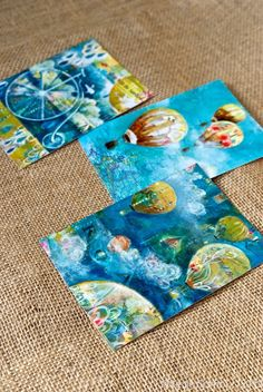 Postcard Size Prints of Original Works. $2.00, via Etsy - mixed media hot air balloon art by a friend of mine!