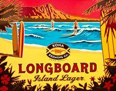 Kona Brewing Longboard Island Lager by Hawaiian Crafts, Hawaiian Art, Beach Illustration, Graphic Illustration, Illustrations, Kona Brewing, Kona Hawaii, Hawaii Logo, Logos