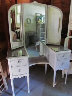 Antique Dressing Table With Full Length Mirror