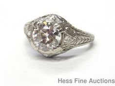 Genuine 1ct Center Old Euro Diamond Platinum Filigree I SI3 Antique Ring Size 5 #SolitairewithAccents