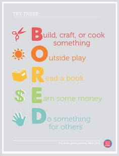 """Beat the spring break blahs! Free Printable - no more """"Mom, I'm Bored!"""". Simply hang it on your wall and point :)."""