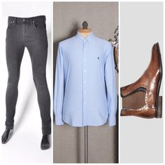 Keep your #saturday #style simple and yet powerful.   Outfit : KNIT LIGHT BLUE #OXFORDSHIRT , SKINNY STRETCHY GREY WASH #JEANS  , BALDWIN BROWN #BOOTS. see www.riskcouture.com  #fashion #men #formen #classic #simple #powerful #GQ #GQMAGAZINE #R #londofashionweek #davidbeckham #shopping #onlineshopping #ecom #goodmorning #stylist