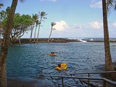 Soak in volcanically heated pool on ocean edge at Ahalanui- 1 mile down the road