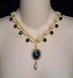 The Lady Millicent - Gold Plated  Renaissance Medieval Tudor Elizabethan Styled Necklace U Pick Colors on Etsy, $30.00
