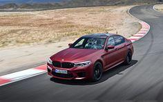 Télécharger fonds d'écran BMW M5, 2018, piste de Course, rouge berline M5, rouge mat M5, BMW tuning, voitures allemandes, BMW