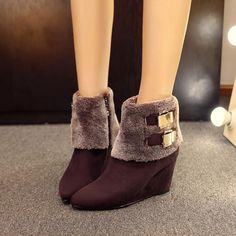 0ef38c303437 Pointed Toe Ankle Boots Wedges Shoes Fall