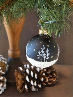 Our Most Popular Design - Aspen Snow Scene with Snow falling and Glitter, Night Black Hand Painted Glass Christmas Ornament Painted Christmas Ornaments, Diy Christmas Ornaments, Diy Christmas Gifts, Christmas Art, Christmas Tree Ornaments, Christmas Holidays, Navidad Diy, Christmas Paintings, Christmas Tree Decorations