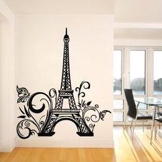 "Pegatinas ?23.6 "" x 42.5 / 60 * 108cm torre Eiffel flor brach paris construcciš®n Landmar francšŠspared del tatuaje Papel pintado"