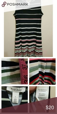 🆕WHBM Shift Dress WORN ONCE!! Beautiful striped dress with pleats around bottom of dress. Approximate length shown in Pic 2. Looks great with flats or wedges! White House Black Market Dresses