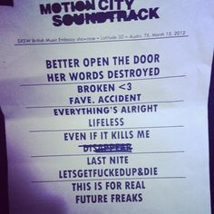 Motion City Soundtrack set list no SXSW