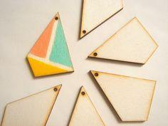 Unfinished Geometric Pendants,Wood Geometric Tile for Jewelry,Geometric Jewelry,Wood Pendants 4mm,