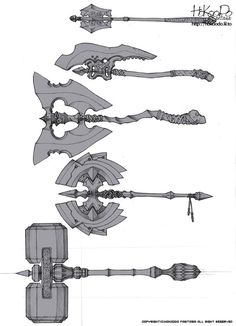 Artist: Hokoodoo  Axe, Hammer, Wraps. Layered, Blade, symmetrical, asymmetrical