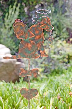 Labrador Retriever Garden Stake / Metal Yard Art / Pet Memorial / Copper /  Metal / Angel Dog / Home Decoration / Grave Marker / Patina