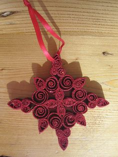 Quilled Christmas Tree Ornament with Sparkly Red by GrandFinaleArt, $8.00