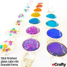 DIY Nail Polish Faux Gemstone Glass Bracelet Recipe from eCrafty.com eCrafty.com ONE SKU 1193D-DIYKIT (contains everything you need: 10-base bezel bracelet, 15 glass domes – plenty extra to experiment with, 2x peel stick jewelry adhesive sheet) Nail polish of your choice. #ecrafty #nailpolishjewelry #diyglasstilejewelry #glasstilejewelry #diygifts #diycrafts #girlscouts #troopcrafts #wholesalecrafts www.eCrafty.com Nail Polish Jewelry, Diy Nail Polish, Diy Nails, Diy Crafts Jewelry, Recycled Jewelry, Stamped Jewelry, Resin Jewelry, Jewlery, Diy Jewlry
