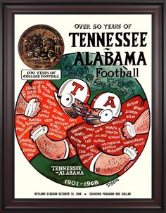1969 Tennessee Volunteers vs Alabama Crimson Tide 36 x 48 Framed Canvas Historic Football Poster Alabama Vs Tennessee, Tennessee Volunteers Football, Tennessee Football, Football Images, College Football Teams, Crimson Tide Football, University Of Tennessee, Football Program, Alabama Football